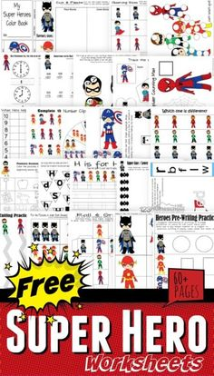 FREE Superhero Worksheets for Kids FREE Super Hero Worksheets – over 60 pages for preschool, kindergarten, toddler, and first grade kids to teach a variety of math and literacy skills Superhero Preschool, Superhero Classroom Theme, Superhero Kids, Preschool Themes, Preschool Printables, Superhero Party, Batman Party, Super Hero Activities, Super Hero Games