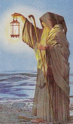IX. The Hermit: Sharman-Caselli Tarot