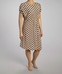 Another great find on #zulily! Taupe & Black Polka Dot A-Line Dress - Plus #zulilyfinds