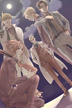 Shingeki no Kyojin -- Erwin, Mike, Nanaba, Hange, Levi
