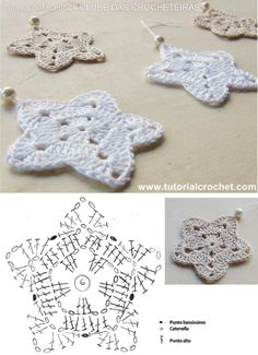 Christmans na Stylowi.pl These look pretty and easy to crochet. Christmans na Stylowi.pl These look pretty and easy to Crochet Diy, Crochet Home, Crochet Gifts, Crochet Motif, Irish Crochet, Crochet Appliques, Crochet Snowflake Pattern, Crochet Stars, Crochet Snowflakes