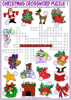 Christmas Crossword Puzzle ESL Printable Worksheets