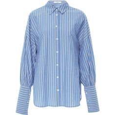 Easy Shirt With Wide Cuff | Moda Operandi (£325) ❤ liked on Polyvore featuring tops, tibi, button up shirts, shirt top, button down top, blue top and button down shirts