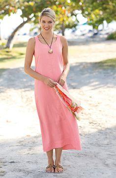dresses > long linen tank dress at J.Jill