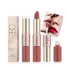 O.TWO.O 2 In 1 Batom Matte Liquid Lipstick Matte Lip Gloss Moisturizing Lips Cosmetic