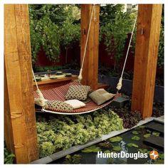 {Editor's #PinOfTheDay} Tu espacio favorito al aire libre, puede ser aún mejor si lo cuidas bien. Dinos si no te gustaría pasar las ricas tardes primaverales recostada aquí. #HunterDouglas #FelizLunes #Innovation #Deco