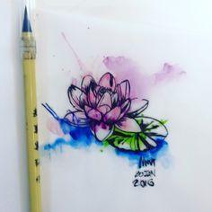 Watercolor Lotus by Nini Beltran Ninja Ink Tattoo Hanoi Vietnam