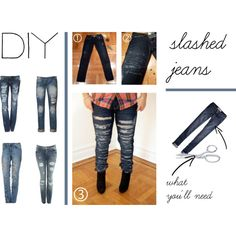 DIY Slashed Jeans, created by polyvore-editorial on Polyvore