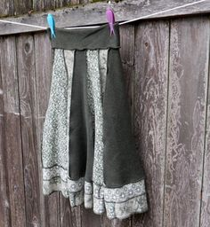 Recycled T Shirt Skirt Sage Moss Green Upcycled Clothing  Small Medium Patchwork Thankful Rose $75