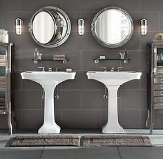 Guest Bath  - restoration hardware bathroom. love so many things about this/ portal mirrors!