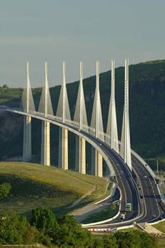 Millau Viaduct between Paris and Montpellier - Beautiful.