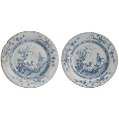 Pair of 18th Century Blue and White English Delft Plates | From a unique collection of antique and modern pottery at https://www.1stdibs.com/furniture/more-furniture-collectibles/pottery/