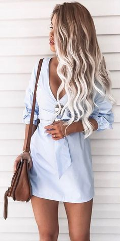 summer  outfits Blue Dress + Brown Leather Shoulder Bag Light Blue Summer  Dress d561a2fb2506b