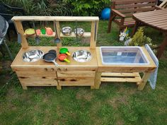 Items similar to Mud Kitchen on Etsy Outdoor Play Kitchen, Diy Mud Kitchen, Mud Kitchen For Kids, Outdoor Fun, Kitchen Size, Kids Play Area, Play Areas, Backyard For Kids, Play Houses