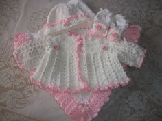 Crochet Baby Girl Sweater Patterns | Crochet Baby Girl Sweater Set Layette Perfect For Baby Shower Gift or ...