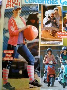 Happy Endings star Elisha Cuthbert with the WAKA Kickball and some excellent socks!