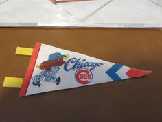 "Vintage 1970s MLB BASEBALL Mini Pennant 7"" Chicago Cubs"