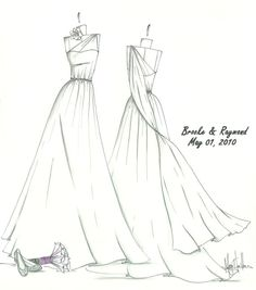 Megan Hamilton Weddings... (etsy)  I got a wedding dress sketch for my sister-in-law after her wedding, and she cried when she got it.  Its beautiful, elegant, and one of a kind!