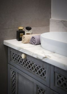 Bathroom features a wardrobe cupboard from India. #bathroom #india