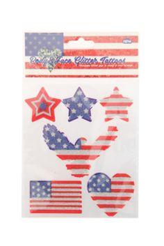 American Flag Glitter Temporary Tattoos