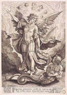 Hieronymus Wierix - San Miguel and Lucifer (Luzbel)