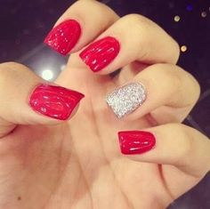 Red and sparkle nails