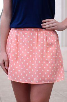 Peach Polka Dot Skort   UOIOnline.com: Women's Clothing Boutique