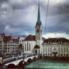 Zuerich, Switzerland. A littler church across the river.
