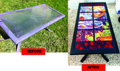 Before and after pics of an aluminium/glass outdoor coffee table that i decoupaged with a mexican print and painted with graphite chalk paint and waxed the paint with dark wax then a couple of coats of clear over the decoupage.