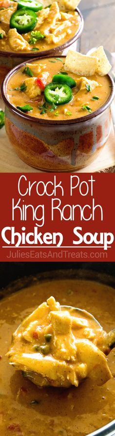 Crock Pot King Ranch Chicken Soup ~ Your Favorite King Ranch Chicken Casserole Flavor Turned into a Comforting Soup Made in Your Slow Cooker! ~ http://www.julieseatsandtreats.com