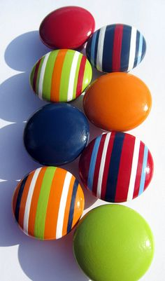 - For Jake's Bunk Bed -   Set of 8 Hand Painted Drawer Knobs Striped by sweetmixcreations, $46.00