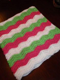 Handmade Crocheted  Ripple Strawberry Shortcake Baby Blanket-Made to Order on Etsy, $30.00