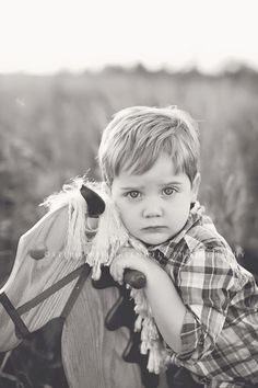 Confessions of a Prop Junkie Be Inspired: Toddlers Stephanie Greenwell Photography boy on rocking horse field b&w b/w fall sunset southeast missouri photographer