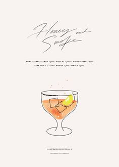 Honey and Smoke cocktail. Cocktail recipe by @gabivalladares and (gorgeous) illustration by Corina. | cocorrina.com