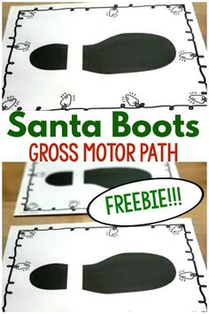 The Santa boots gross motor path is the perfect gross motor game for the holiday season. Preschool Lessons, Preschool Learning, Toddler Preschool, Preschool Activities, Teaching, Work Activities, Preschool Curriculum, Gross Motor Activities, Art Therapy Activities