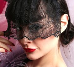 Masquerade veil Black lace mourning veil by talulahblue on Etsy @blackswanballet