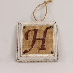 Burlap Christmas Ornament monogram Letter Initial by CustomCreated