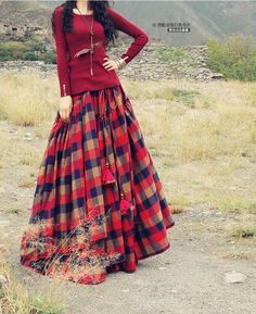 Long Maxi Plaid Skirts Irregular A line Autumn Elastic Waist Bohemian Skirt