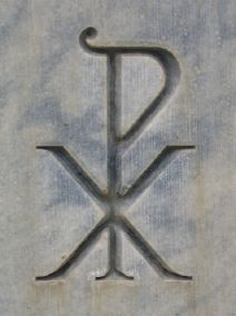 Chi Rho - early Christians put this on their tombstones to identify with Christ.