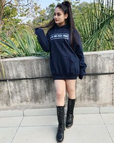 Image may contain: 1 person, standing, shoes and outdoor Stylish Girls Photos, Stylish Girl Pic, Girl Photos, Beautiful Girl Photo, Cute Girl Photo, Beautiful Eyes, Stylish Dress Designs, Stylish Dresses, Desi Girl Selfie