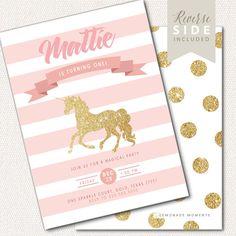 Primera invitación de cumpleaños Unicornio, rosa y oro brillo, 1er cumpleaños invitar, invitación de cumpleaños de niña, imprimible, lunares, rayas