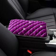 Purple Velvet Bling Car Center Console Cover with Bling Rhinestones - Carsoda - 1