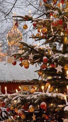 Beautiful outdoor Christmas tree at Tivoli Gardens, Copenhagen, Denmark
