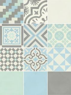Carreau de ciment Belle époque décor gris, bleu, vert et blanc, l.20xL.20cm #leroymerlin #carreauxdeciment #carrelage #ideedeco #madecoamoi Morrocan Tiles Kitchen, Kitchen Splashback Tiles, Bathroom Design Layout, Wall Design, House Design, Brick Texture, Tiles Texture, Belle Epoque, Subway Tile Patterns