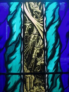 Detail of the Apocalyptic scene 'The Woman crowned with the Sun'. Window installed in St Anne's, Chapel End, Nuneaton. Stained glass by Aidan McRae Thomson.