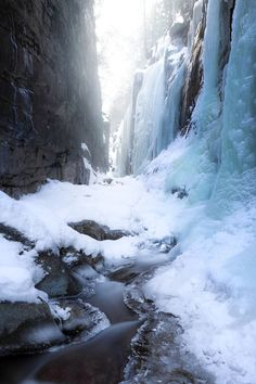 Landscape photo of winter ice at the Flume Gorge - White Mountains, New Hampshire