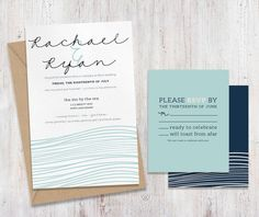 Coastal Ocean Beach Wedding Invitations by eandhcreates on Etsy, $3.00 A beautiful suite for a seaside affair <3  Sandy toes, a warm breeze and the sound of waves crashing on the shore. These soft wave invitations will set the tone for your wedding day. A versatile color palette: jute, sea foam, navy and blush paired with a linen paper combines for a romantic, complete invitation suite. Invitations recommended in blush or kraft brown but also available in any color.