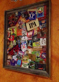 Great idea for favorite beer labels and the six pack holder boxes cut up, placed on a foam poster board, glass on top and framed. Beer Box Crafts, Craft Beer Labels, Beer Can Art, Beer Art, Diy Crafts For Kids, Fun Crafts, Foam Poster Board, Coaster Crafts, Coaster Art