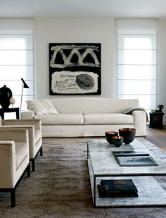 Neutral Colours #Modern #white #sofa #design #interiors