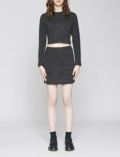 Native Youth Women's High Neck Knitted Crop Top in Charcoal